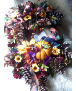 Home Decor Halloween Crow Wreath, Silk Floral Decor, Fall Wreath, Front Door, I - $79.00