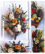 Floral Wall Basket Bouquet Vibrant Tuscan Silk Flowers-Fall Color Wreath... - $85.00