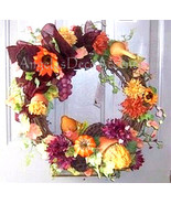 Autumns Bounty Wreath Vibrant Home Fall Flowers Designer Silk Floral~Fro... - $119.00