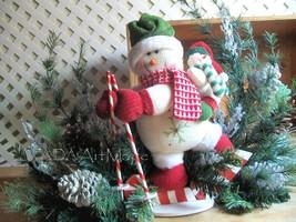 Winter Snowman Centerpiece~Designer Mantel Arrangement~Christmas Holiday... - $210.11 CAD
