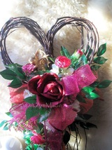 Floral Heart Wreath 13x22 Heart Shape Accent + Gold Cupid~Silk Roses~Reds Pinks - $65.00