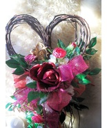 Floral Heart Wreath 13x22 Heart Shape Accent + Gold Cupid~Silk Roses~Red... - $65.00