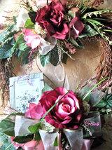 Heart Wreath Silk Floral Wall Door Hanger Shabby Romance Victorian Chic Decor~Ye - $149.00