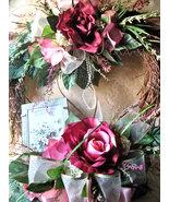 Heart Wreath Silk Floral Wall Door Hanger Shabby Romance Victorian Chic ... - $149.00
