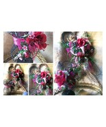 Heart Wreath & Wire Corset with Pillar Candle Holder Romantic FLORAL GIF... - $135.00