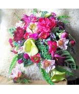 Vibrant Tropics Bouquet XL 17 x 24 Traditional Bridal Cascade & Groom Se... - $395.00+