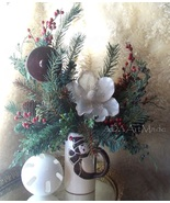 Magnolia Mug Arrangement Winter Greens Chocolate Snowman with Lid~Lifeli... - $75.00
