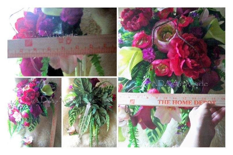 Vibrant Tropics Bouquet XL 17 x 24 Traditional Bridal Cascade & Groom Set~Ready