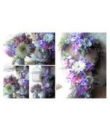 Silk Floral Arrangement & Heart Wreath Set Violet Flower PAIR~Mother's Day - $225.00