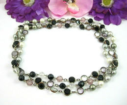 Premier Designs Jewelry CLEAR BLACK ROSE Beads Necklace Aspirin Round Be... - $14.99