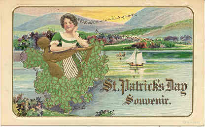 A St Patrick Day Souvenir vintage Post Card
