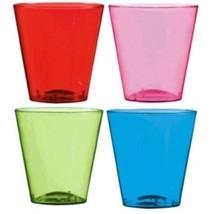 2 oz Shot Glasses 40 Ct Plastic Green Purple Red Blue Party - $10.44