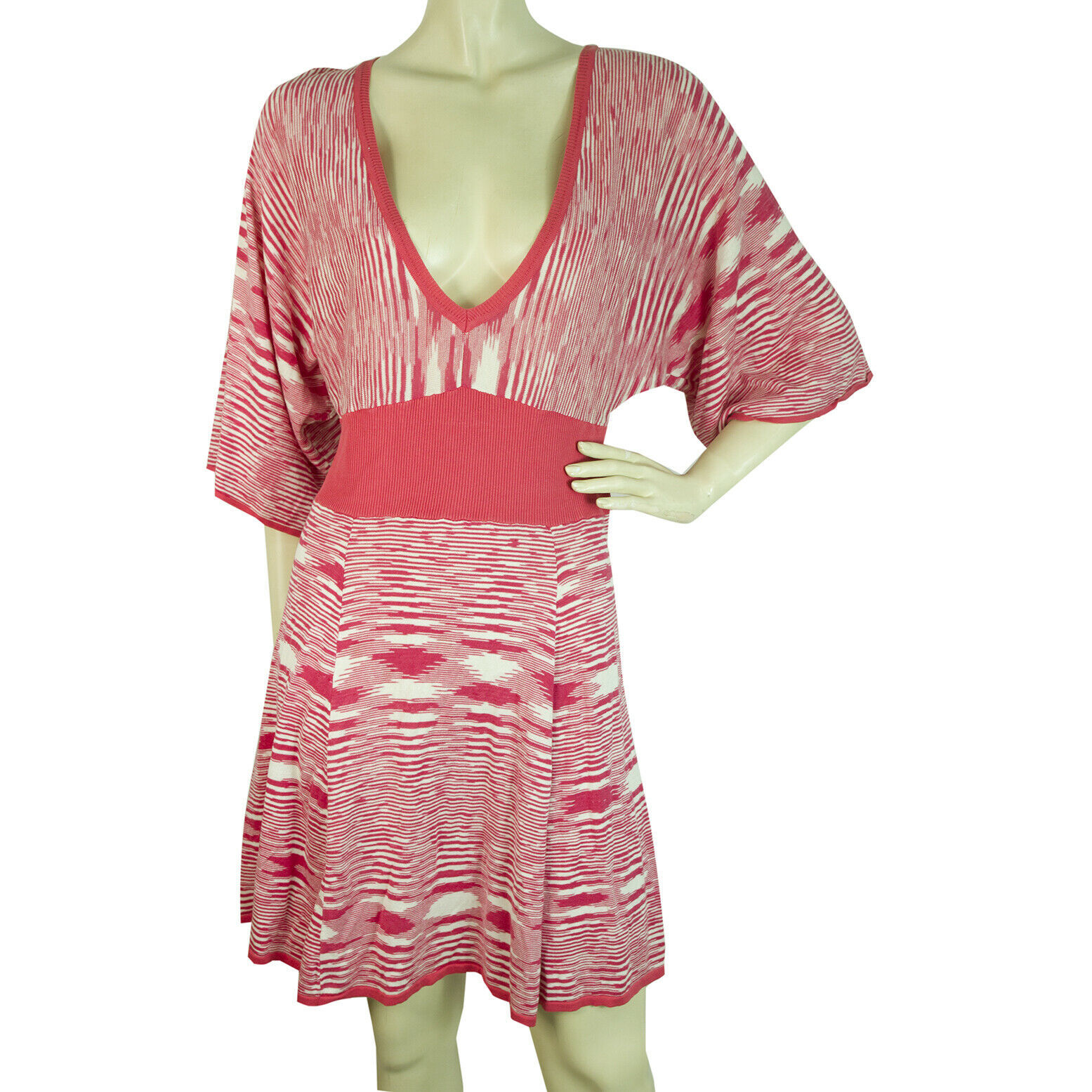 Primary image for BCBG Maxazria Fuchsia White Striped V Silk Cotton Knit Tunic Mini Dress size L