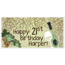 Grapes with Wine Bottle and Glass Birthday Bann... - $22.50
