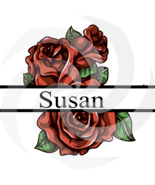 Flower Split Monogram Susan 102smp-Digital Clipart-Art Clip-Gift Cards-P... - $1.99