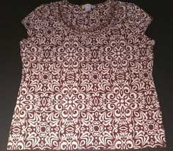 LIZ CLAIBORNE RN 93677 - Brown and Ivory Bead Accented Top - Women's Size: XL - $24.95