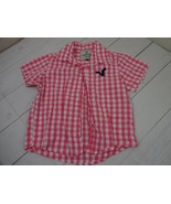 American Eagle Outfitters Girls Pink Gingham Short Sleeve Shirt  A2211 - $6.29