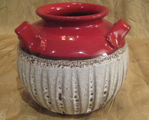 Art Pottery Red And White Textured Handled Small Vase