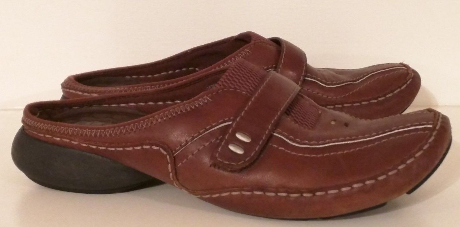 PRIVO by Clarks 75799 - Brown Leather Slip-on Mule Shoes - Women's Size: 7M