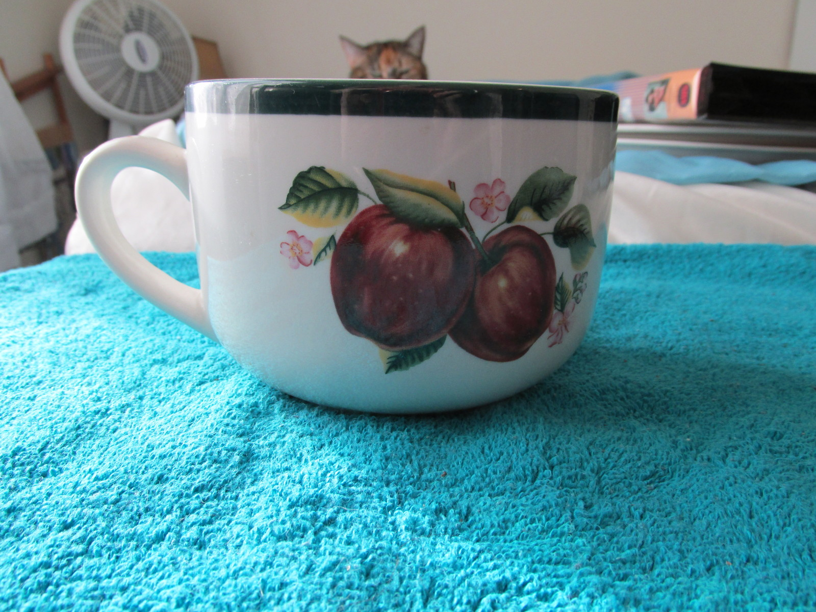 Casuals Made By China Pearl Soup Mug Bowl With Apples