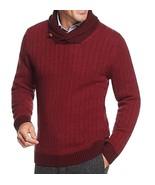 Tasso Elba Men's Red Combo Shawl Collar Ribbed Knit Pullover Sweater - $26.98