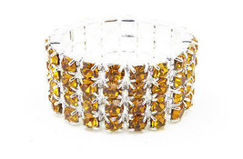 Sparkling 4 Row Silver Stretch Ring with Amber Color Crystal Rhinestones... - $5.44
