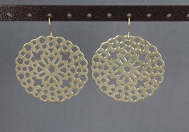 gold cutout filigree Big Huge medallion moroccan disc dangle earrings 2 ... - $7.40