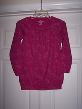 Faded Glory Girls Long Sleeve Top Magenta Size Large 10/12 100% Cotton H... - $7.95