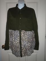FREE PEOPLE Green Animal Print Long Tunic Button Tab Sleeve Shirt MEDIUM - $32.50