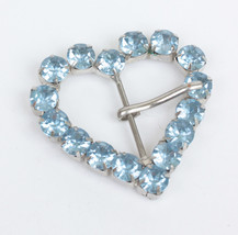 Blue Rhinestone Buckle Heart Shaped Vintage - $14.00