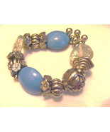 HANDMADE LARGE ACRYLIC SILVER, TURQUOISE, HEART SHAPED STRETCH BEADED BR... - $6.23