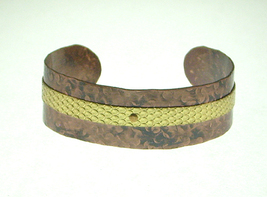 Hammered Copper Cuff Bracelet with Brass Accent Stripe - $16.99