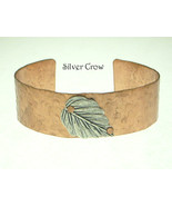 Hammered Copper Cuff Bracelet with Silver Leaf ... - $15.99