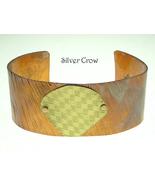 Textured Copper Cuff Heat Patina Brass Accent - $16.99