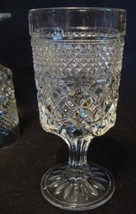 "Wexford Anchor Hocking 8 Water Goblets Glasses Stemware 6 1/2"" Pressed Diamond"