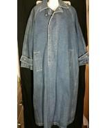 Vintage Calvin Klein Denim Coat Jacket Long Maxi Jean One Size XL 1990's - $93.49