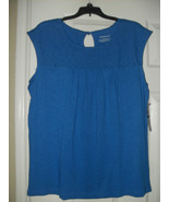 Westbound New Womens Blue 100% Cotton Lace Front Sleeveless Blouse   L - $8.99