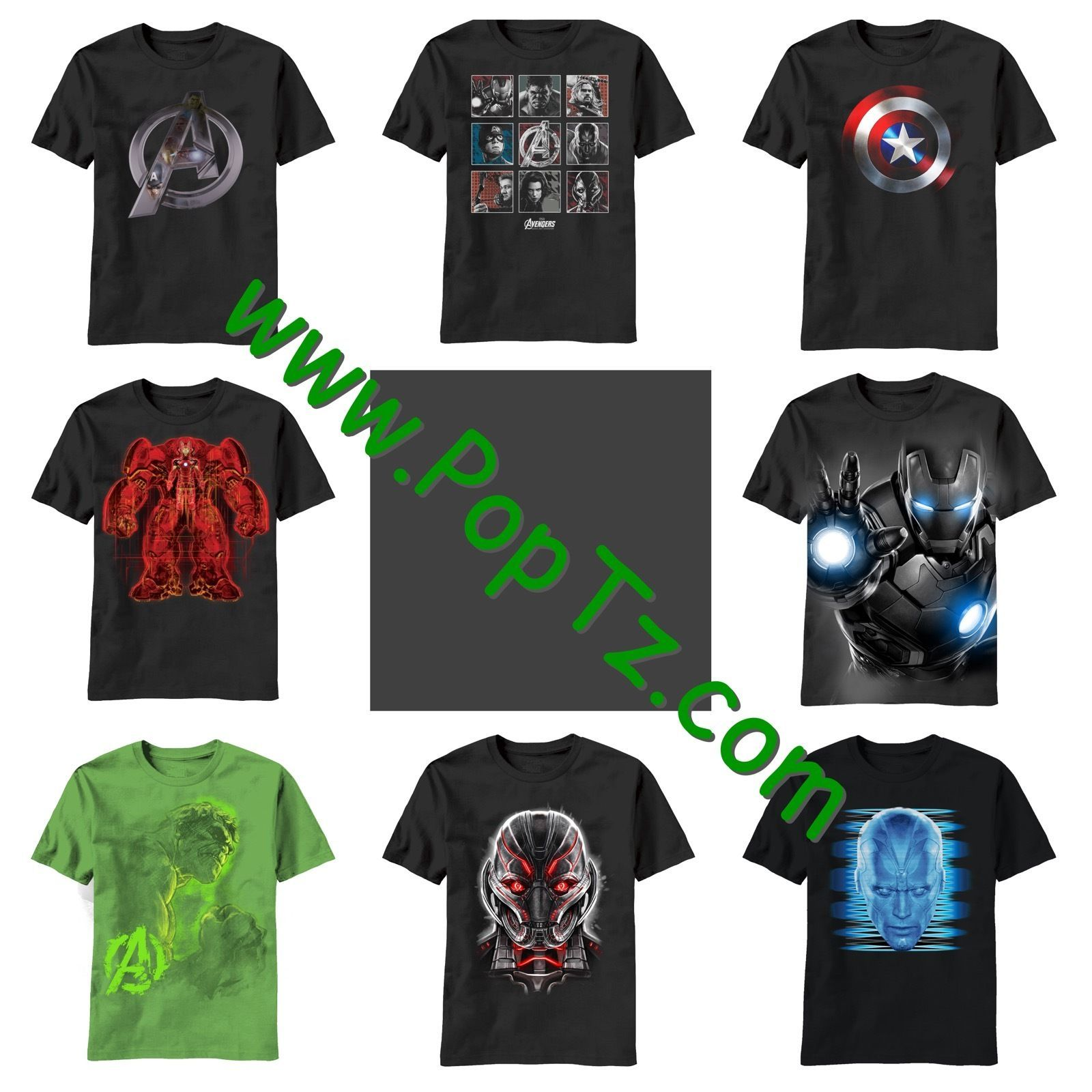 The Avengers Age of Ultron Logo Hulk Captain America IronMan Vision Glow T-shirt