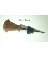 Wood Turned Wine Bottle Stopper  Metal Stopper Handcrafted Clearance - $12.99
