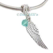 Cute Silver Tone Angel Wing Birthstone Crystal Slide Dangle Charm Fits B... - $6.55