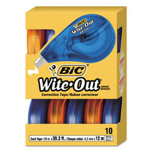 Bic WOTAP10 Wite-Out Correction Tape Non-Refillable 10 Pack Value-Pack - $16.26