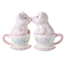 Kissing Teacup Pigs Magnetic Salt Pepper Shaker Set Pink Pigglet Love - $12.00