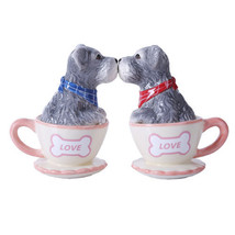 Schnauzer Teacup Magnetic Kissing Salt Pepper Shaker Set Puppy Love - $10.80