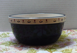 Vintage Mid Century CERAMIC MIXING BOWL Dark Blue TULIPS Country Cottage... - $11.00
