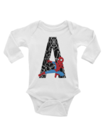Spiderman Alphabet A- F Onesie Long or Short Sleeves - $13.99