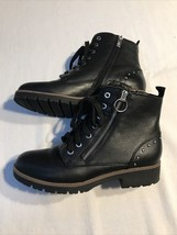 Women's Black Leather Upper Boots Size 8M Zipper And Studs American - $18.99