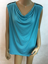 GEORGE Women Sleeveless Cowl Neck Turquoise Leather Shoulders  top plus ... - $13.82