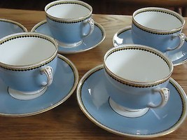 Adderley Ltd.China England 4 Cups 5 Saucers 07674 Blue Yellow Black Trim... - $21.78