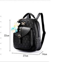 5 Color Leather Backpacks Medium Bookbags With Clutch Wallets N192-1 image 2