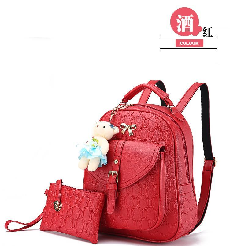 5 Color Leather Backpacks Medium Bookbags With Clutch Wallets N192-1 image 6